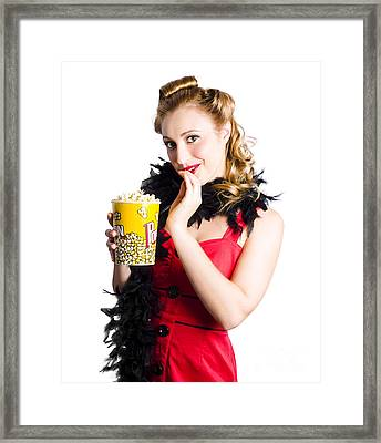 Glamorous Woman Holding Popcorn Framed Print by Jorgo Photography - Wall Art Gallery