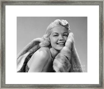 Glamorous Woman With Fur, C.1950s Framed Print by Debrocke/ClassicStock