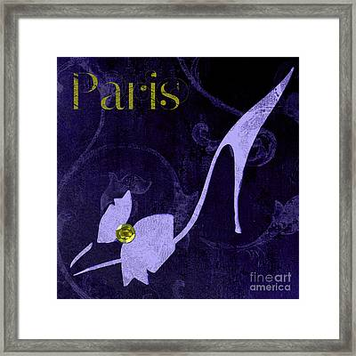 Glamour Paris Blue Shoe Framed Print by Mindy Sommers