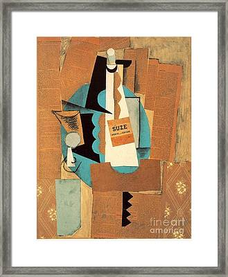 Glass And Bottle Of Suze Framed Print by Pablo Picasso