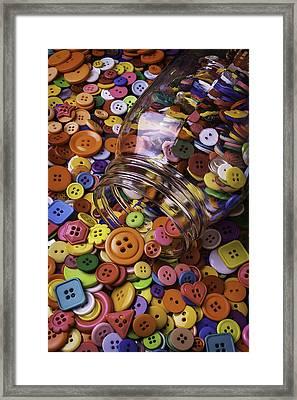 Glass Jar Spilling Buttons Framed Print by Garry Gay
