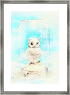 Glass Jar Winter Owl Framed Print by Jorgo Photography - Wall Art Gallery
