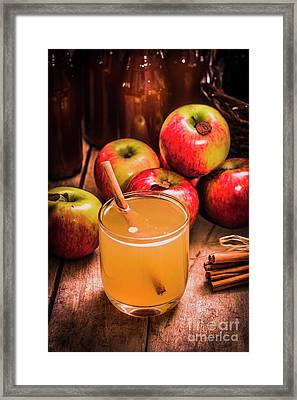 Glass Of Fresh Apple Cider Framed Print by Jorgo Photography - Wall Art Gallery