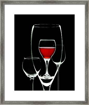 Glass Of Wine In Glass Framed Print by Tom Mc Nemar