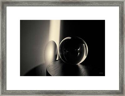Glass Sphere In Light And Shadow Toned Framed Print by David Gordon