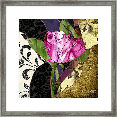 Glassberry Pink Poppy Stained Glass Framed Print by Mindy Sommers