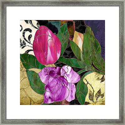 Glassberry Stained Glass Rose Framed Print by Mindy Sommers