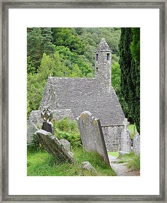 Glendalough Ireland St Kevins Church Behind Headstones Wicklow Mountains Framed Print by Shawn O'Brien
