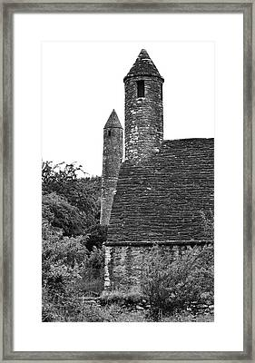 Glendalough Round Towers And St Kevins Kitchen County Wicklow Ireland Black And White Framed Print by Shawn O'Brien