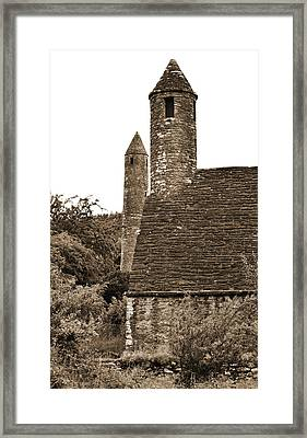 Glendalough Round Towers And St Kevins Kitchen County Wicklow Ireland Sepia Framed Print by Shawn O'Brien