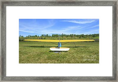 Glider Plane At Rural Airport Framed Print by Edward Fielding