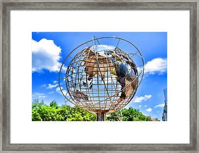 Globe At Columbus Circle Framed Print by Lanjee Chee