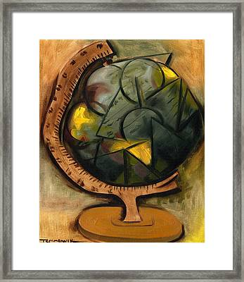 Abstract Cubism World Globe Art Print Framed Print by Tommervik