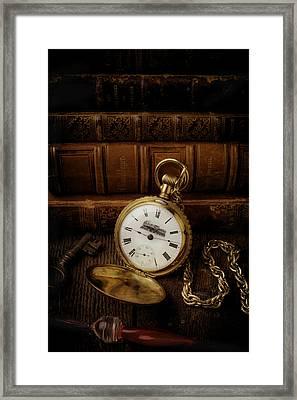 Glod Train Pocket Watch Framed Print by Garry Gay