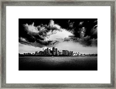 Gloomy Sydney Skies Framed Print by Az Jackson
