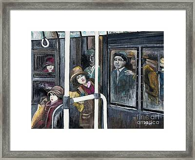 Gloria Swanson In Subway Scene From Manhandled Framed Print by Reb Frost