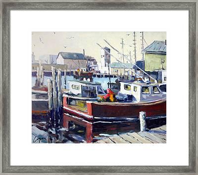Gloucester Harbor And The Birdseye Tower Framed Print by Chris Coyne
