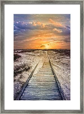 Glow On The Dunes Framed Print by Debra and Dave Vanderlaan
