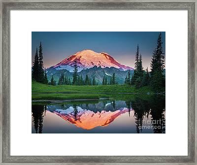 Glowing Peak - August Framed Print by Inge Johnsson