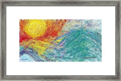 Glowing Sun Near Water Wave Framed Print by Zulqarnain Jamal