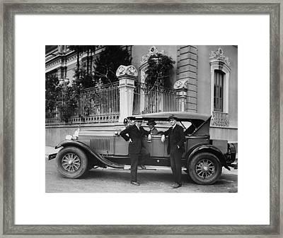 Gm Men In Caracas Framed Print by Underwood Archives