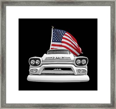 Gmc Pickup With Us Flag Framed Print by Gill Billington