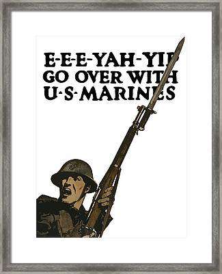 Go Over With Us Marines Framed Print by War Is Hell Store