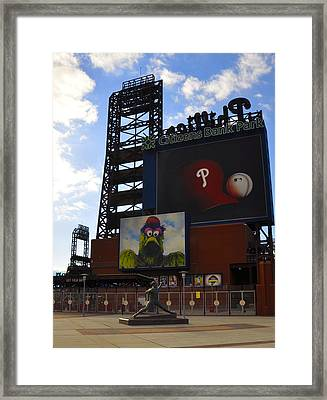 Go Phillies - Citizens Bank Park - Left Field Gate Framed Print by Bill Cannon
