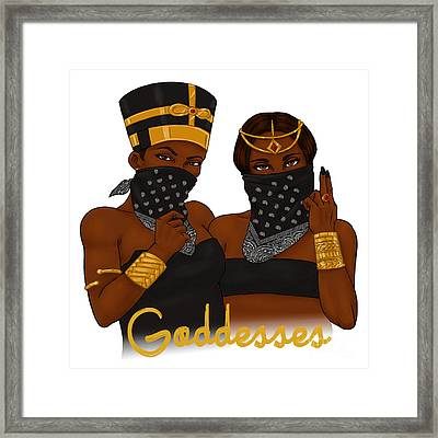 God Desses Framed Print by Respect the Queen