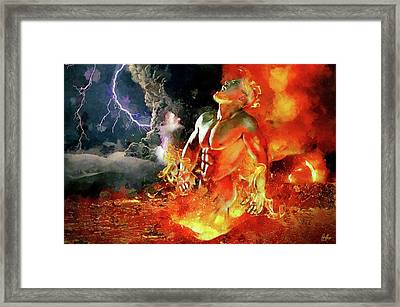 God Of Fire Framed Print by Marcin and Dawid Witukiewicz