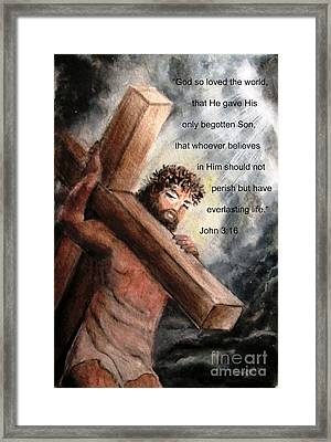 God So Loved The World Framed Print by Hazel Holland