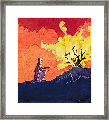 God Speaks To Moses From The Burning Bush Framed Print by Elizabeth Wang