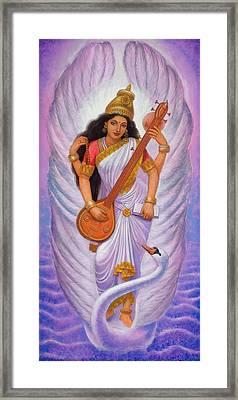 Goddess Saraswati Framed Print by Sue Halstenberg