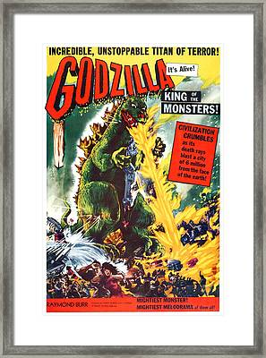 Godzilla, King Of The Monsters, Aka Framed Print by Everett