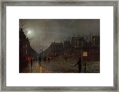 Going Home At Dusk Framed Print by John Atkinson Grimshaw