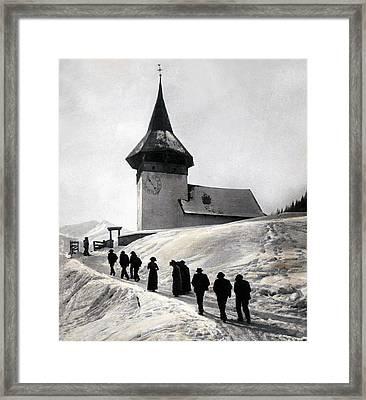 Going To Church On Christmas Morning Framed Print by Swiss School