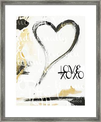 Gold And Black Artsy Heart Xoxo Framed Print by WALL ART and HOME DECOR