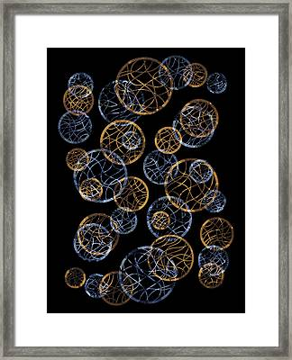 Gold And Blue Abstract Circles Framed Print by Frank Tschakert