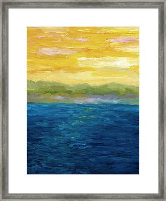 Gold And Pink Sunset  Framed Print by Michelle Calkins