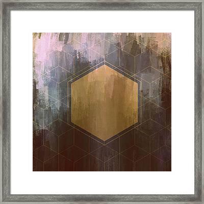 Gold And Purple Hexagon Framed Print by Brandi Fitzgerald