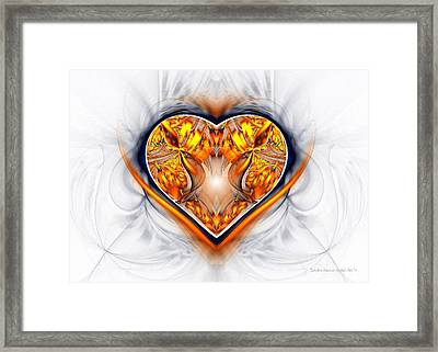 Gold And Sapphire Heart  Framed Print by Sandra Bauser Digital Art