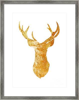 Gold Deer Silhouette Watercolor Art Print Framed Print by Joanna Szmerdt