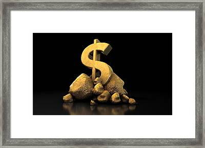 Gold Dollar Sign Framed Print by Allan Swart