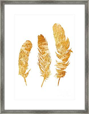Gold Feathers Watercolor Painting Framed Print by Joanna Szmerdt