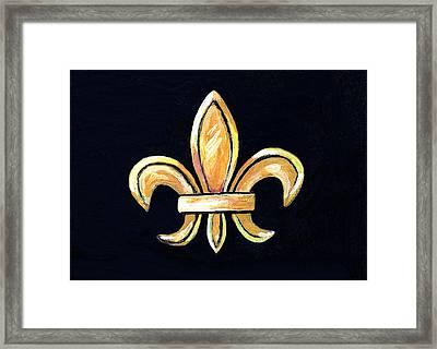 Gold Fleur De Lis On Black Framed Print by Elaine Hodges
