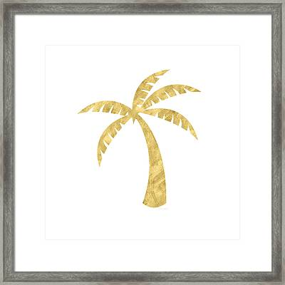 Gold Palm Tree- Art By Linda Woods Framed Print by Linda Woods
