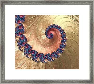 Gold Spiral With Passion Abstract Framed Print by Marianna Mills