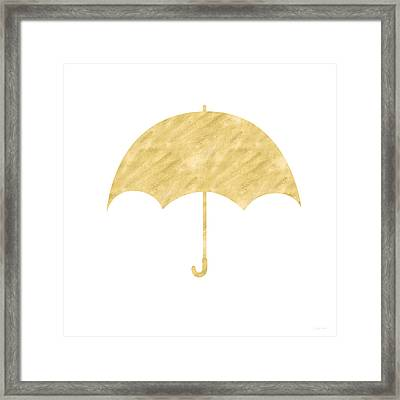 Gold Umbrella- Art By Linda Woods Framed Print by Linda Woods
