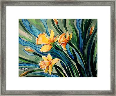 Golden Daffodils Framed Print by Elizabeth Robinette Tyndall