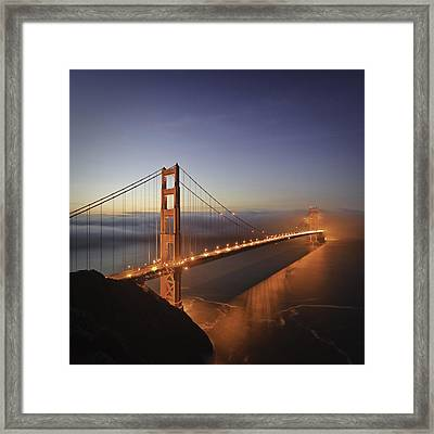 Dawn Over The Golden Gate Framed Print by Nathan Spotts